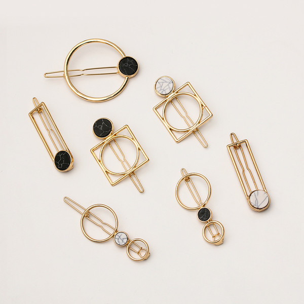 Drop shipoing Minimalism Geometric Metal Hairpins Round Rectangle Shape Acrylic Hair Clips for Women Girls Hair Styling Accessories 25 pcs