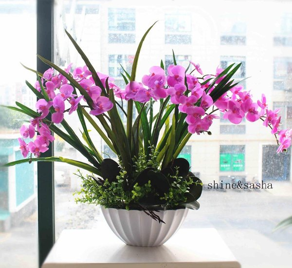 1 set flower +vase orchid Phalaenopsis real touch flower with leaves artificial arrangement with vase