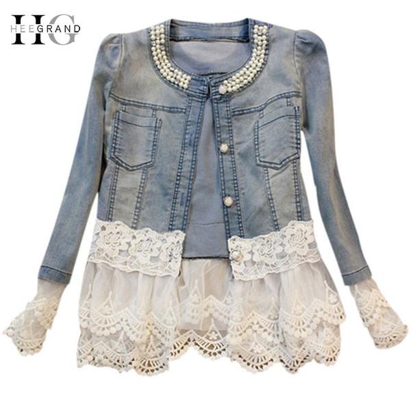 2019 New Jeans Jacket Women Casacos Feminino Slim Lace Patchwork Beading Denim Lady Elegant Vintage Jackets Coat Dropship WWJ084