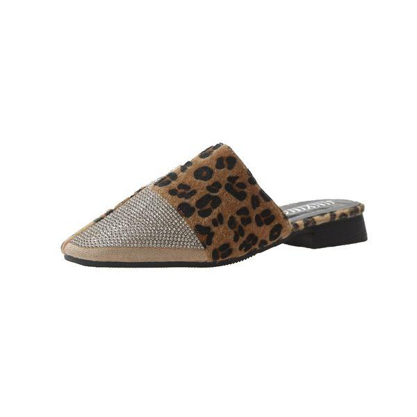 Talons bas strass léopard Womens Flats Toe Toe Mules Chic Summer Party de rue Sandales de diapositives femmes, avec soutien de voûte