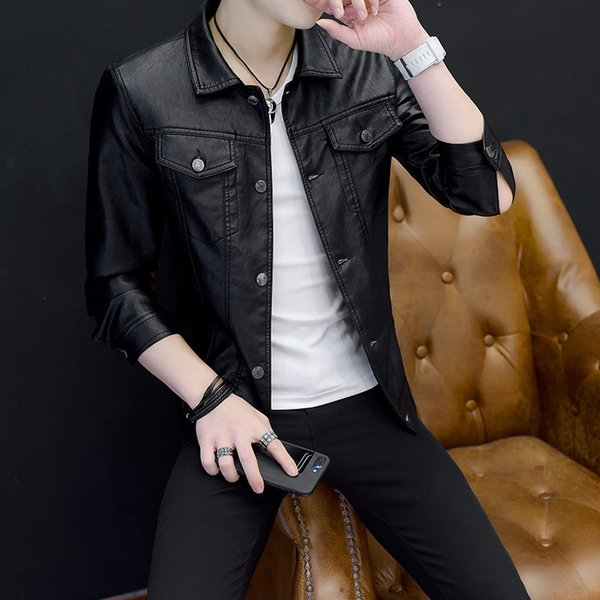 Pop2019 Spring Clothes Pattern Charm Self-cultivation Man Leather Clothing Korean Trend Joker Men's Loose Coat Cool Time Jacket