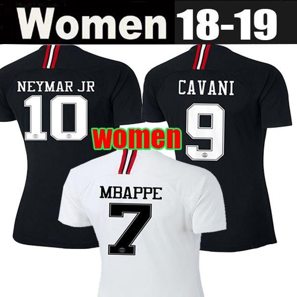 18 19 MBAPPE NEYMAR JR Женские футбольные майки CAVANI DI MARIA Home Bule Away Белые футболки Psg VERRATTI Maillots de Foot Uniforms