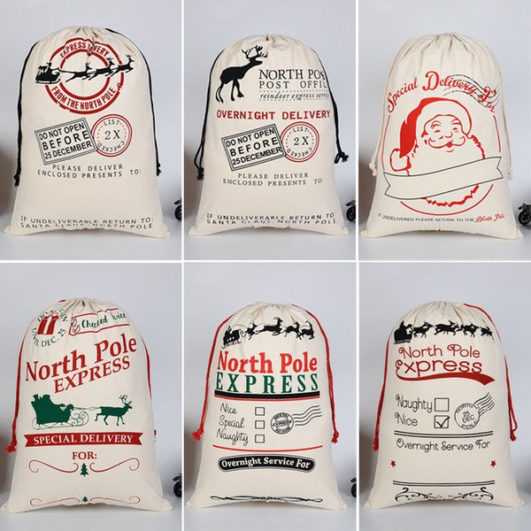 Christmas Gift 2018 Santa Sacks 1pc Drawstring Canvas Santa Sack Xmas Canvas Bag Hot Sale Big Claus Gift Bag Drop Shipping
