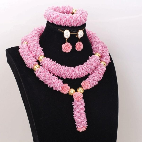 Jewelry Peach Bridal Jewelry Set For African 2 Rows Bold Design Nigerian Beads Necklace Crystal Handmade Free Shipping 2019