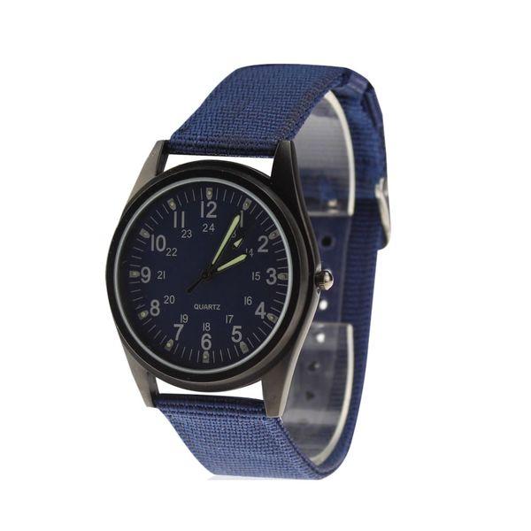 Orkina Men's Hot Fast Army Fashion Style Custodia nera scuro blu scuro quadrante blu cinturino in nylon orologio da polso ORK-0076