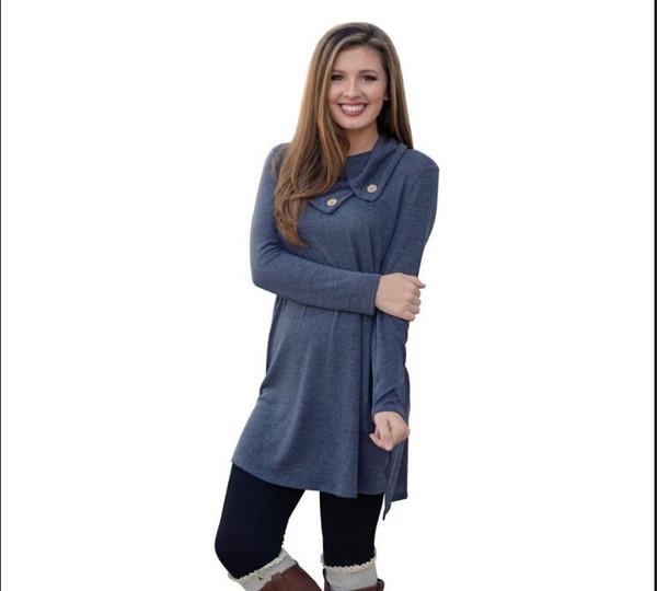 Kadınlar Giyim Moda 2017 Uzun Kollu Sonbahar Casual Gevşek yaka Tişört Artı boyutu Elbise için Elbiseler