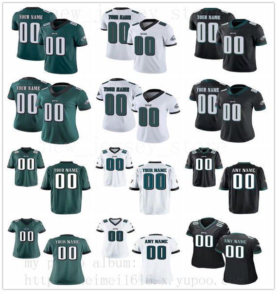 reputable site 449fe 226f7 2019 Custom PhiladelphiaEagles Jersey Mens Women Youth Black White Green  RushLimited Jerseys Message Number And Name On The Order From ...
