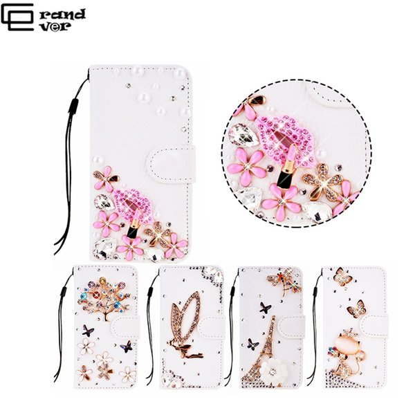 Luxury Flip Leather Glitter Case For Samsung Galaxy S6 S7 Edge Cover For Handmade 3D Pattern Bling Rhinestone Diamond Crystal