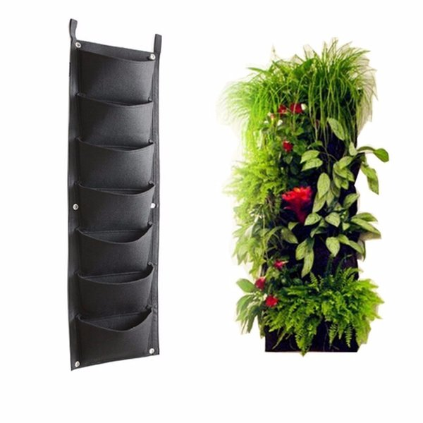 7 Pockets Outdoor Indoor Vertical Garden Planting Bag Hanging Wall Balcony Garden Seed Grown Flower Pot Diy Decor Supplies
