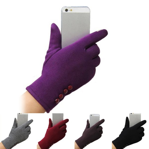 Warm Gloves High quality Winter 4 Buttons Touch Screen Gloves Sporting Mittens Cashmere Femme For Womens