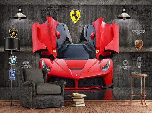 3D sur mesure Chambre Photo Wallpaper voiture voiture murale sport de luxe logo Photo Mural Art Moderne Creative Study Room Hôtel Living Backdrop Fond d'écran
