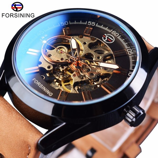 Forsining 2017 Mens Casual Sport Genuine Leather Top Brand Luxury Army Military Automatic Men's Wrist Watch Skeleton Clock C19011001