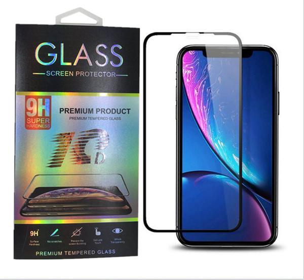 para iPhone XS Max XR 8 7 plus Protector de pantalla 10D de cristal templado para iPhone X Película de cubierta completa con paquete al por menor