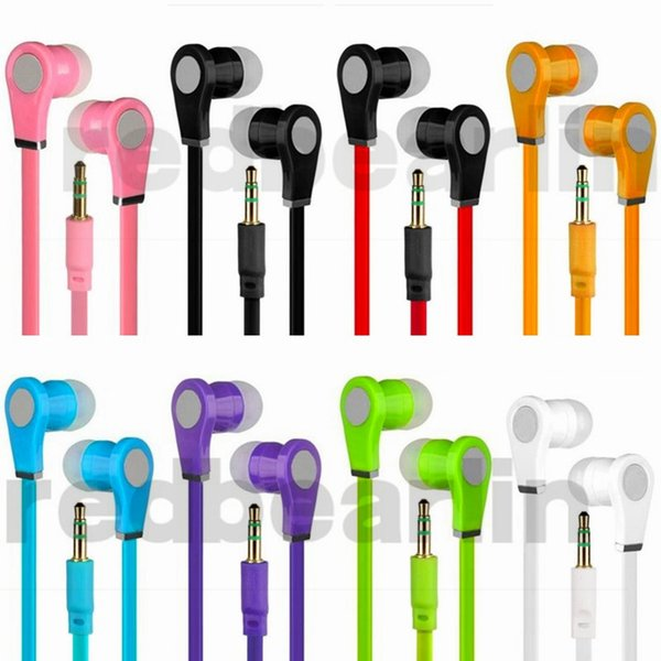 Universal Earphone Stereo Headphones Earbuds No mic Flat noodle Earphones handsfree for iphone 5 6 samsung android phone mp3