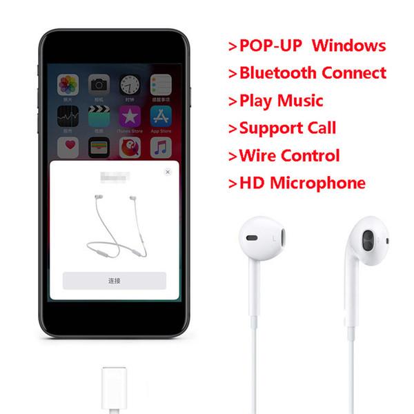 Проводная Освещение Наушники с микрофоном In-Ear Stereo Bluetooth Спорт Earbuds Pop Up Window наушники для телефона 11 8 7 Plus X XS XR