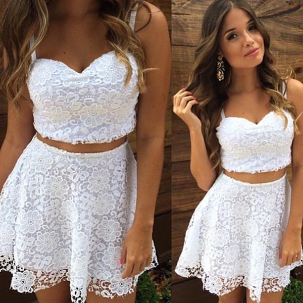 2018 Brand New Women's Clothing White Black V Neck Strap Lace 2 -piece Set Sexy Party Elegant Lace Top And Rock Sets Zipper Suits Y19071301