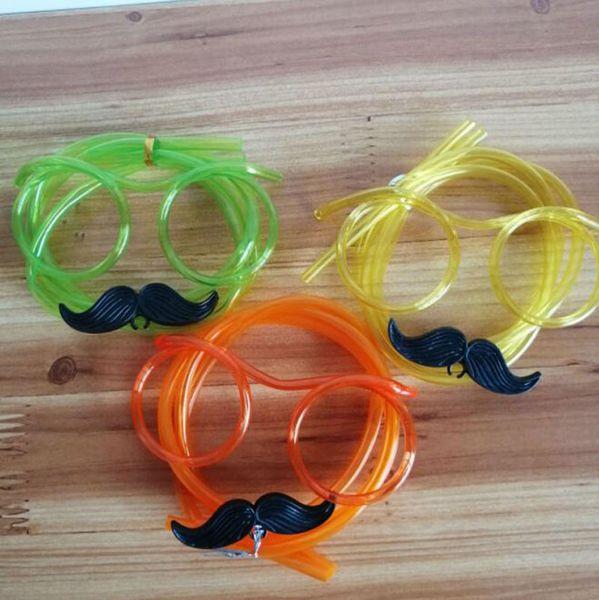 Canudos Óculos Engraçado Bigode Barba Canudos Flexível Beber Tubo Crianças Brinquedos Decoração de Festa de Aniversário ZC1371