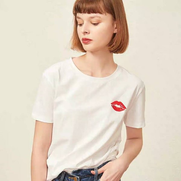 Brand Women Luxury Tshirt with Red Lips Designer High Quality Top Tees Fashion Summer Clothes for Women S-XL