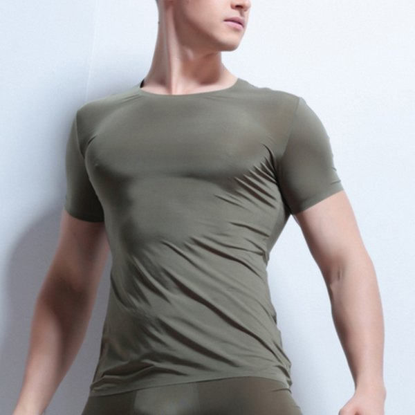 top popular Sexy Soft Ice Silk O Neck Seamless Undershirt Men Breathable Strench Cool Fitness Sleeve T Shirt Male Underwear Sleepwear 2019