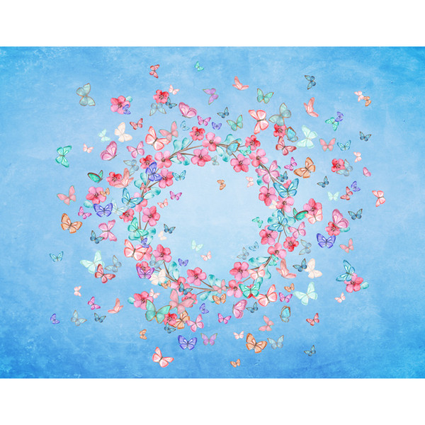 7x5FT Light Blue Abstract Wall Pink Flowers Newborn Baby Shower Custom Photo Studio Background Backdrop Vinyl 220cm x 150cm