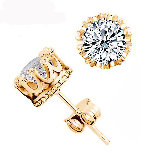 Argent 925 Boucles d'oreilles en cristal naturel d'engagement de mariage Stud mode petits bijoux en argent sterling pour Hommes Femmes