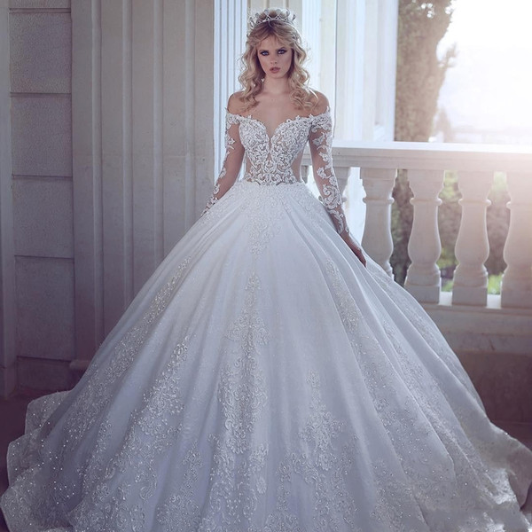 2020 Новый роскошный A Line Свадебные платья Иллюзия плеча шнурка аппликаций Кристалл бисера Длинные рукава Sweep Поезд Плюс Размер Свадебные платья