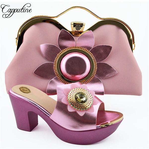 Sapatos de Verão Cor de Rosa africano Strass Cor E Bolsa Para Festa de Venda Quente Mulher Sapatos De Salto Alto Sapatos de Casamento E Saco Set SL003A