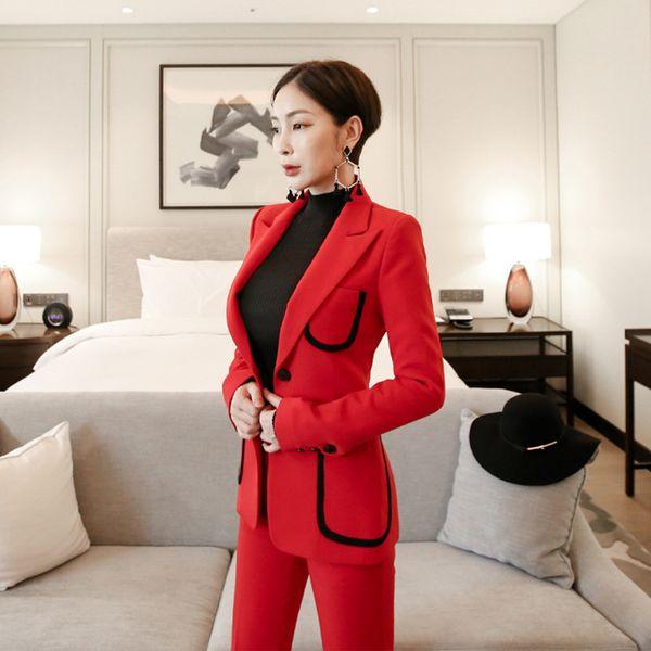 New arrival women professional temperament single button fashion warm solid suit work style slim pant comfortable OL pant suits