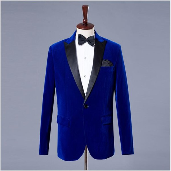 Handsome Slim Fitted Two Colors Male Performance Costumes Three Pieces (Blazer+Pant+Bow Tie) Dinner Party Suits with Peaked Lapel