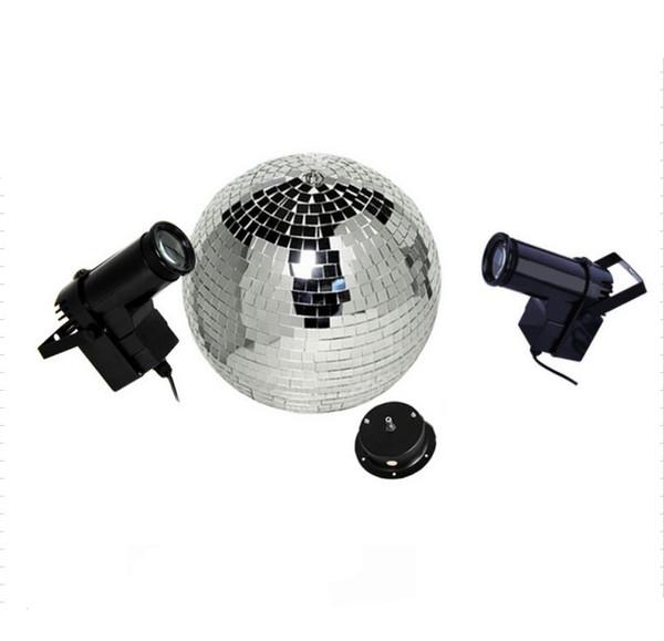 D40CM Reflective Glass Rotating Mirror Ball With Motor Fixture with 2pcs 10W RGB Beam Pinspot Disco DJ Stage Light DJ Disco Lamp