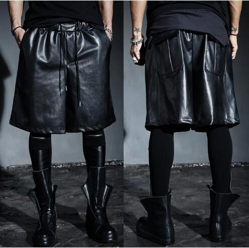 2019 Men Clothing Gd Hair Stylist Non-mainstream Pu Male Loose Black Easy Care Pants Capris Plus Size Male Singer Personality trend costumes