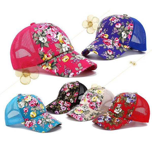 2019 Girl Rose Flower Caps Unisex Classic Baseball Hat Summer Mesh Hats Adjustable Snapback Leisure Sunshade Cap Hip Hop Cap 6 Colors M638F