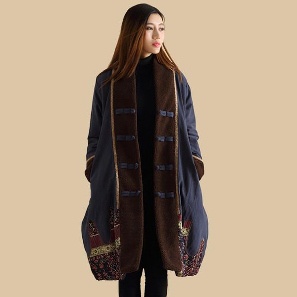 Ethnic Trench Coat 2017 Women Winter Jacket Wadded Long Jacket Chinese Winter Coat Autumn Overcoat Kaban Winterjas Dames Jaqueta