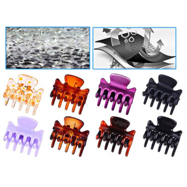 12pcs Mini Garra de pelo de cangrejo geométrica Clips de plástico colorido surtido Horquilla de la mandíbula Abrazadera Fuerte mordida Fuerza Barrette Mujeres 3 cm