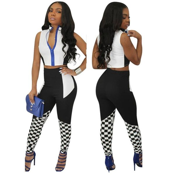 2PCS European&American Style Yoga Fitness Sports Sets Sexy Strapless Black&White Plaid Digital Print Fashionable Running Racing girl Suits N