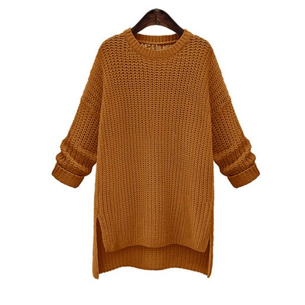 ZADORIN Winter Tops For Women 2019 Solid Long Sleeve O Neck Long Sweater Asymmetrial Loose Casual Oversized Vintage Red Sweater