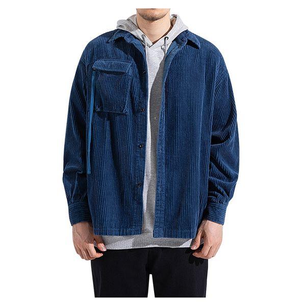 Homens Inverno Corduroy Jacket Brasão Moda Casacos Jacket Slim Preto Parka Piloto para Brasão social Casual Masculino Plus Size