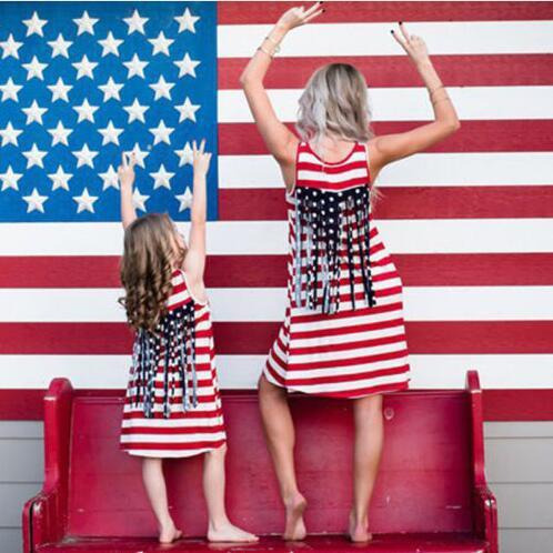 boho sleeveless striped 4th july summer dresses mommy matching outfits casual mother and daughter