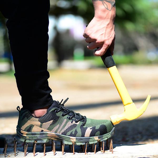 Erkek Açık Artı Boyutu Çelik Ayak Kap Iş Boots Ayakkabı Erkekler Kamuflaj Delinme Geçirmez Güvenlik Ayakkabıları Nefes