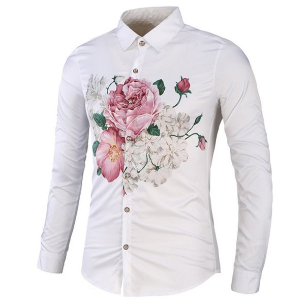 WENYUJH High Quality Men's Shirt Slim Fit Ink Floral Printing Casual Mens Social Shirts Long Sleeves Plus Size Vintage Shirt Men