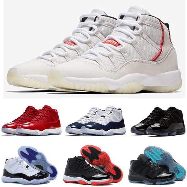 11s Mens Basketball Shoes 11 Concord 45 Platinum Tint Cap And Gown Men Women Gym Red Bred Space Jam Designer Sports Sneakers 7-13