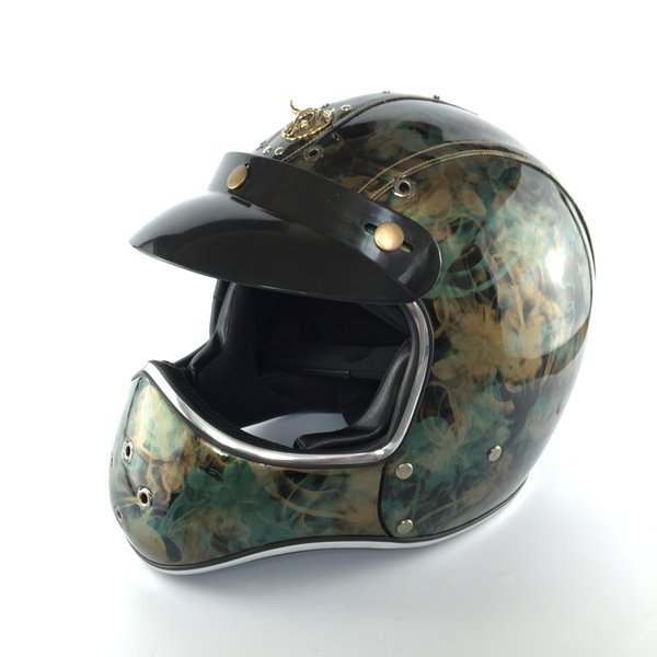 DOT Helmets Leather Vintage Helmet Motorcycle Open Face Mens Helmet Racing Full Face For MOTOGP Style Capacete Dirt-Bike ATV MTB