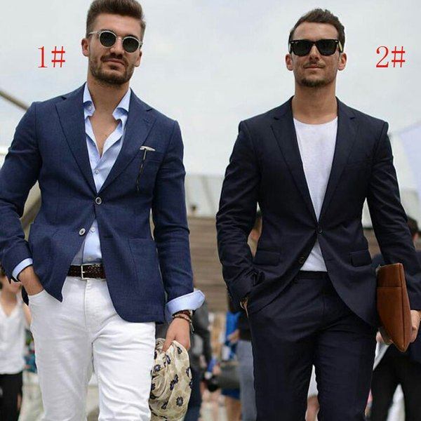 Navy Blue Men Suits for Wedding Smart Casual Man Suits Groom Tuxedo Two Buttons 2Piece Coat Pants Man Blazer Jacket Slim Terno Masculino