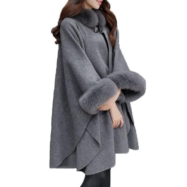 Autunno Inverno Basic Cappotti Cappotto misto lana Cappotto donna elegante Casual Casaco Feminino Cappotto collo largo in pelliccia Poncho lungo Cappe di tweed