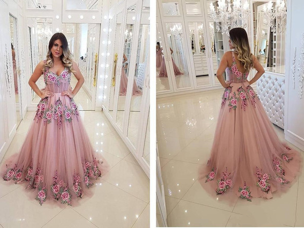 2019 A Line Pink Tulle Embroidery African Prom Dresses Long Rachel Allan 2019 New Elegant Formal Dresses Evening Gowns Graduation Dresses