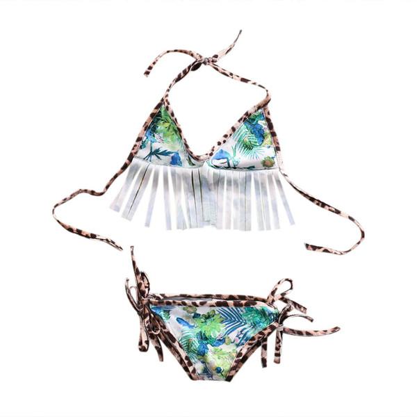 Été nouveau 2pcs nouveau-né bébé fille floral imprimé lacer des glands Bikini Set bandage maillot de bain maillot de bain gland Beachwear vêtements