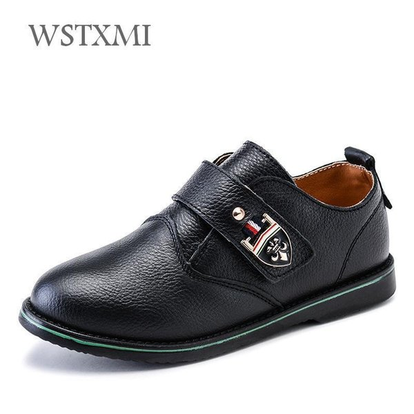 Boys Genuine Leather Shoes For Kids Wedding Show School Dress Flats Shoes Light Classic Children Performance Loafer Moccasins Y19051602