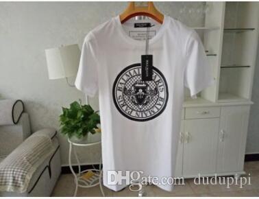 Balmainss Mens Designer Camisas Preto Branco Design Da Moeda Mens Designer de Moda Camisetas Top Manga Curta XS-XXL