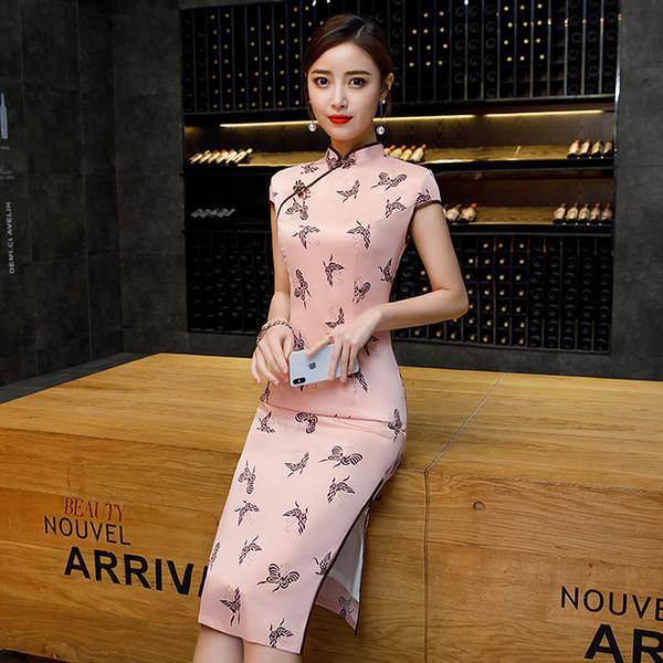 2019 Mulheres Elegantes Magro Qipao Manga Curta Imprimir Cheongsam Sexy Pink Lady Vestido Chinês Novidade Gola Mandarim Vestidos