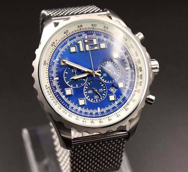 Quartz Chronograph Men WristwatchesSteel Strap Blue Dial Mens Watch Watches datejust montre montre de luxe designer watches